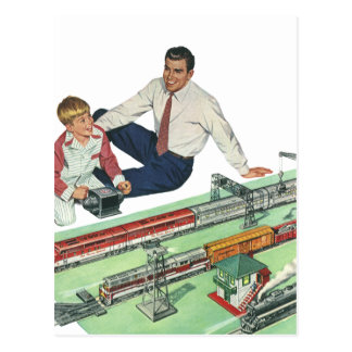 Vintage Father s Day Dad and Son Play with Trains Post Cards