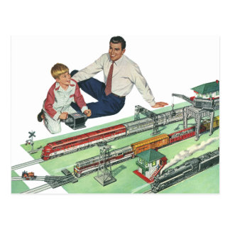 Vintage Father s Day Dad and Son Play with Trains Postcards
