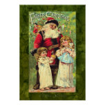 Vintage Father Tuck's Santa Claus Christmas Poster