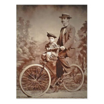 Vintage Fathers and Child On Bicycle Postcard