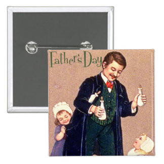 Vintage Father's Day 2 Inch Square Button