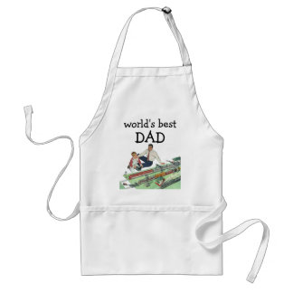 Vintage Father's Day, Dad and Son Play with Trains Adult Apron
