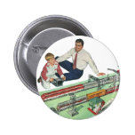 Vintage Father's Day, Dad and Son Play with Trains 2 Inch Round Button