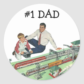 Vintage Father's Day, Dad and Son Play with Trains Classic Round Sticker