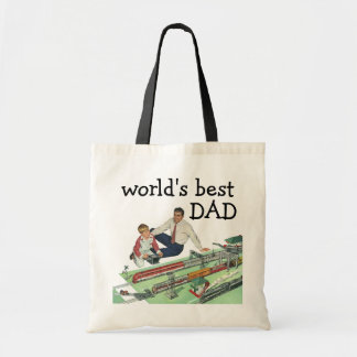 Vintage Father's Day, Dad and Son Play with Trains Tote Bag