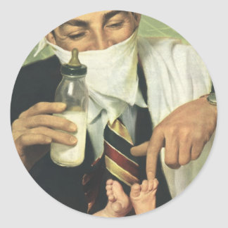 Vintage Father's Day, Dad Giving Baby a Bottle Classic Round Sticker
