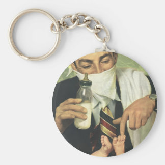 Vintage Father's Day, Dad Giving Baby a Bottle Keychain