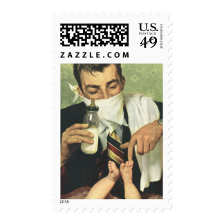 Vintage Father's Day, Dad Giving Baby a Bottle Postage