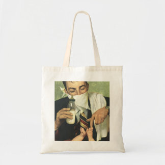 Vintage Father's Day, Dad Giving Baby a Bottle Tote Bag