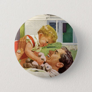 Vintage Father's Day, Happy Dad and Son Boy Button