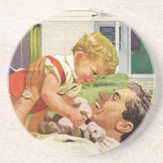 Vintage Father's Day, Happy Dad and Son Boy Coaster