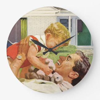 Vintage Father's Day, Happy Dad and Son Boy Large Clock