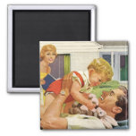 Vintage Father's Day, Happy Dad and Son Boy Refrigerator Magnet