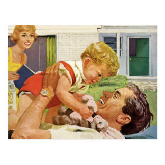 Vintage Father's Day, Happy Dad and Son Boy Postcard