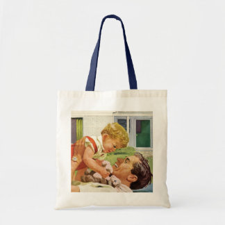 Vintage Father's Day, Happy Dad and Son Boy Tote Bag