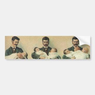 Vintage Father's Day, Man holding Triplet Babies Bumper Sticker