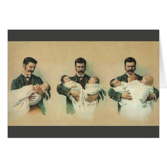 Vintage Father's Day, Man holding Triplet Babies Card