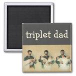 Vintage Father's Day, Man holding Triplet Babies Fridge Magnets