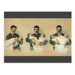 Vintage Father's Day, Man holding Triplet Babies Post Cards