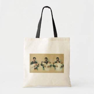 Vintage Father's Day, Man holding Triplet Babies Tote Bag