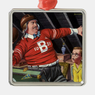 Vintage Father's Day, Sports Football Dad and Son Metal Ornament