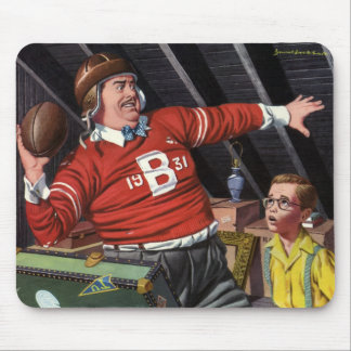 Vintage Father's Day, Sports Football Dad and Son Mouse Pad