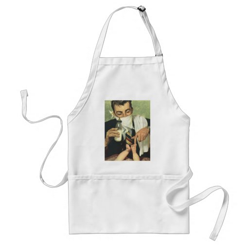 Vintage Father's Day with Dad Changing Diapers! Aprons