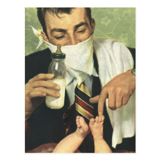 Vintage Father's Day with Dad Changing Diapers! Postcard