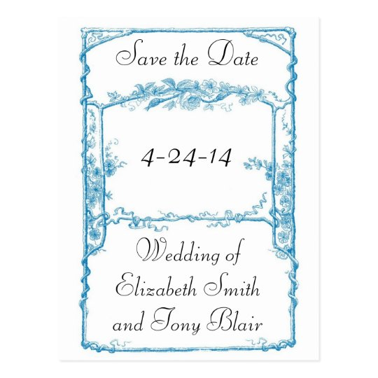 Vintage Faux Bois Frame Save the Date Card