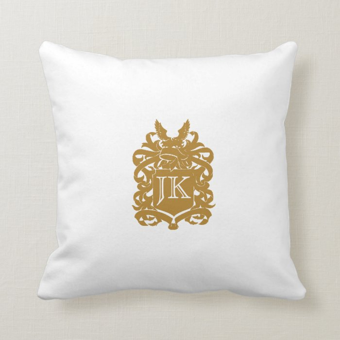 Vintage Faux Gold Monogram Throw Pillow Zazzle