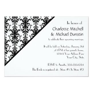 Vintage Faux Jewel Buckle Black White Damask Card