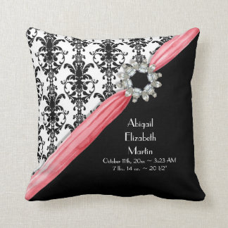Vintage Faux Jewel Look Buckle Black White Damask Pillows