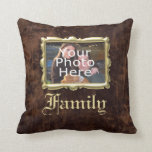 Vintage Faux Leather/Gold Family Photo Pillow