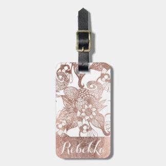 Vintage Faux Rose Gold Rustic Floral Drawings Bag Tag