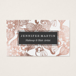 vintage faux rose gold rustic floral drawings business card