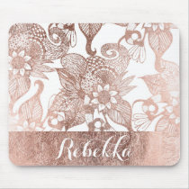 Vintage Faux Rose Gold Rustic Floral Drawings Mouse Pad