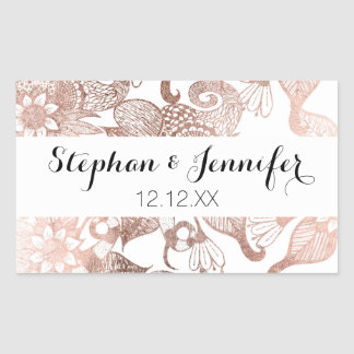 Vintage Faux Rose Gold Rustic Floral Drawings Rectangular Sticker