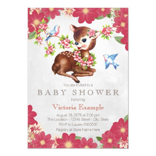 vintage fawn deer baby shower 5x7 paper invitation card zazzle
