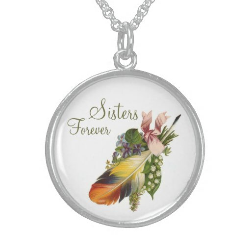 Vintage Feather Floral Sisters Forever - Necklace