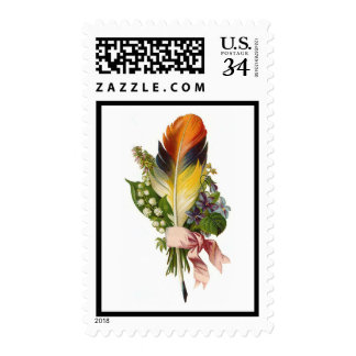 Vintage Feather Flower Floral Bouquet-Postage Postage
