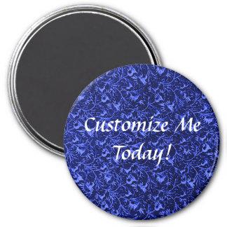 Vintage Feathery Floral Dark Blue 3 Inch Round Magnet