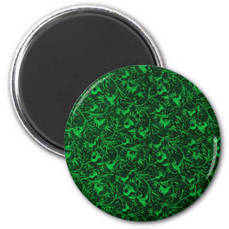 Vintage Feathery Floral Green 2 Inch Round Magnet