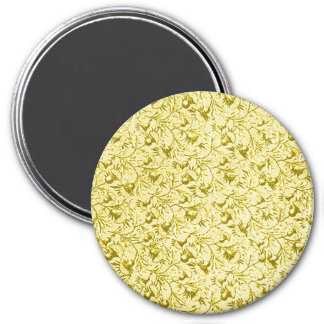 Vintage Feathery Floral Lemon Yellow 3 Inch Round Magnet