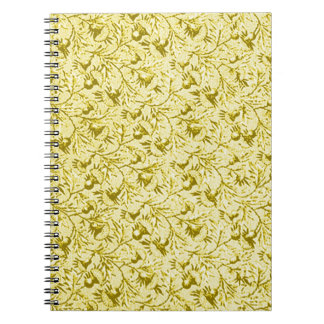 Vintage Feathery Floral Lemon Yellow Notebook