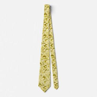 Vintage Feathery Floral Lemon Yellow Tie