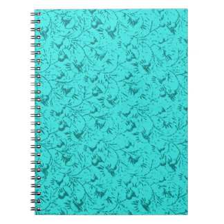 Vintage Feathery Floral Peacock Teal Notebook