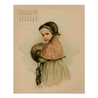 Vintage February 1891 beautiful children drawing Poster
