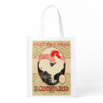 Vintage Feed Sack, Forward rooster, grocery bag