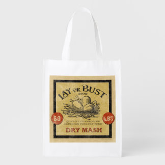 Vintage Feed Sack, Lay or Bust, grocery bag