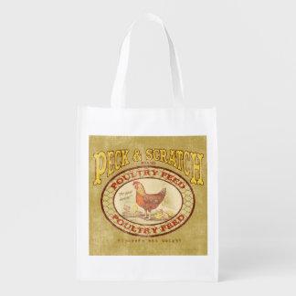 Vintage Feed Sack, Peck & Scratch, grocery bag